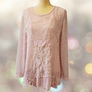 Gorgeous lace boho Tunic xl Indigo Soul pink